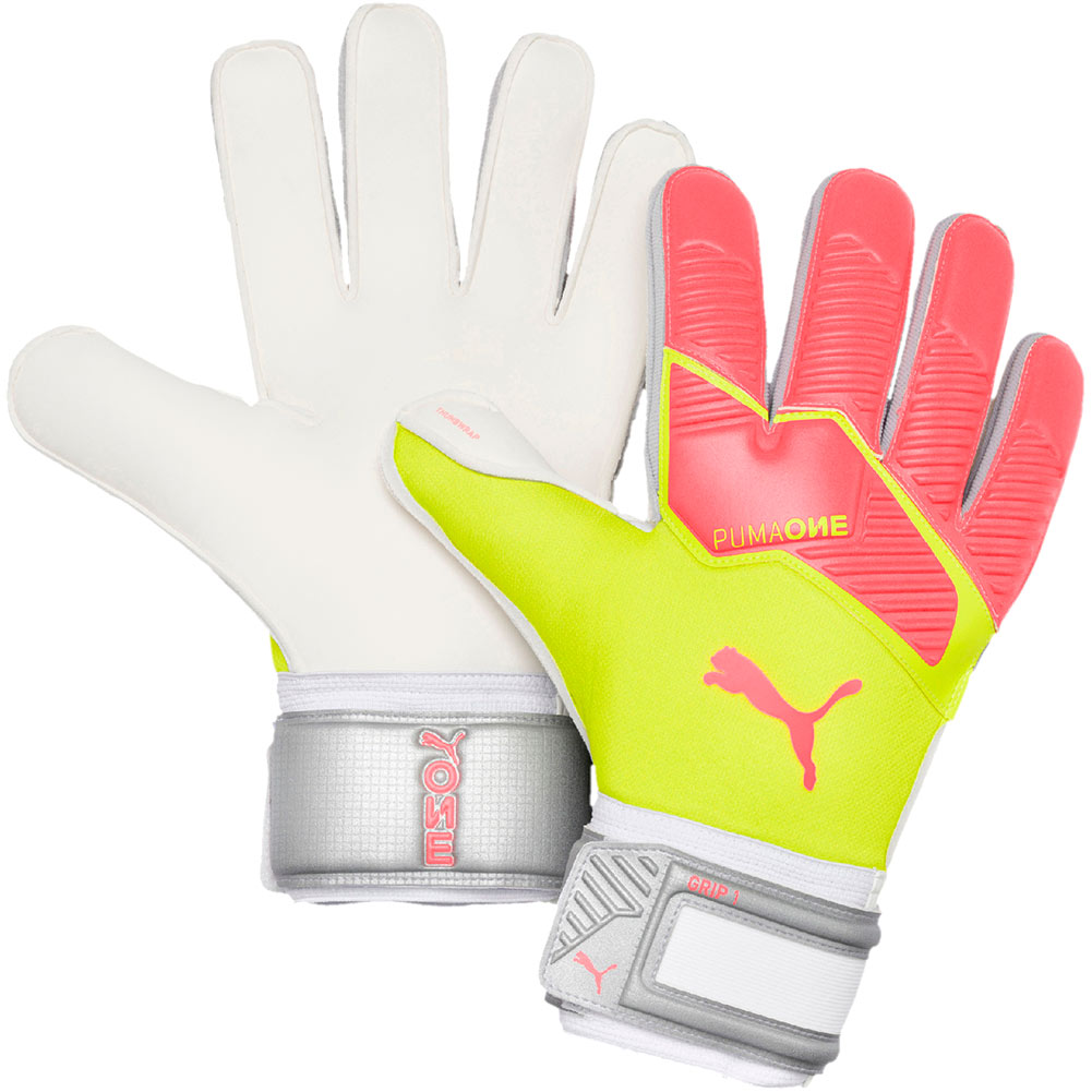 Just Keepers - Puma ONE GRIP 1 RC Goalkeeper Gloves Peach-Fizzy Yellow